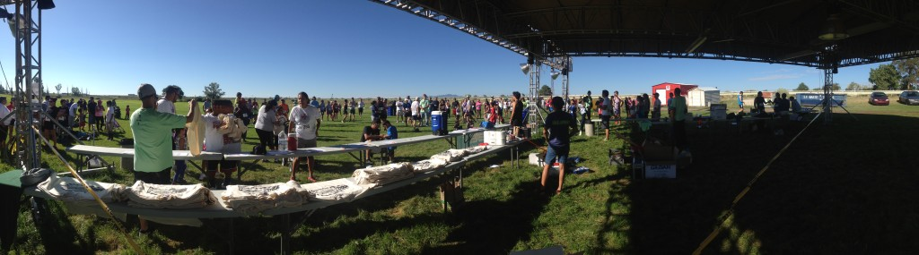 The scene out from under the registration tent to runners preparing for the 5K.